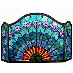Chloe Tiffany Style Peacock Design 3-panel Fireplace Screen 9149356