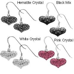 Sterling Silver Crystal Heart Earring Drop