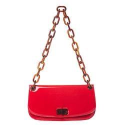 Prada 'Madras' Red Patent Leather Shoulder Bag