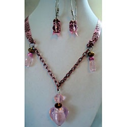 Frosted Heart Necklace and Earring Set