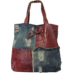 Amerileather Oversized Trisha Leather/ Denim Tote