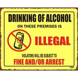 Vintage Metal Art 'Drinking Is Illegal' Retro Tin Beer Sign