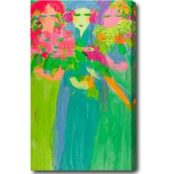'Girls with Flowers' Abstract Oil on Canvas Art