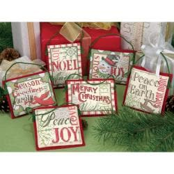 "Christmas Sayings Ornaments Counted Cross Stitch Kit-Up To 4"" Set Of Six"
