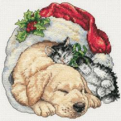 "Gold Collection Petite Christmas Morning Pets Counted Cross -6""X6"""