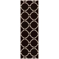 Jill Rosenwald Hand-woven Black Faller Wool Rug (2'6 x 8')