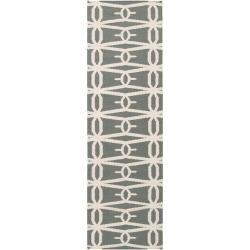 "Jill Rosenwald Handwoven Green Faller Wool Geometric Rug (2'6"" x 8')"