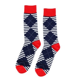 FineFit Women's Red/ Blue Argyle/ Stripe Boot Socks