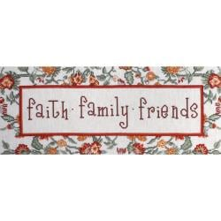 """Faith, Family, Friends Counted Cross Stitch Kit-7""""X18"""" 14 Count"""