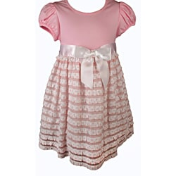Bonnie Jean Girls' Pink Polka-dot Ruffled Dress