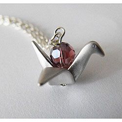 Silver Crane Necklace with Purple Crystal