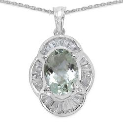 Sterling Silver Green Amethyst and White Topaz Pendant