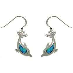 Carolina Glamour Collection Sterling Silver Created Opal Sea Dolphin Earrings 9196216
