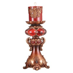 Red/ Brown 12-inch High Candleholder