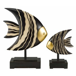 African Craft Fish Statue (Set of 2)