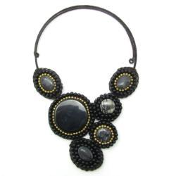 Handmade Mosaic Charm Black Agate/ Brass Beads Choker (Thailand)