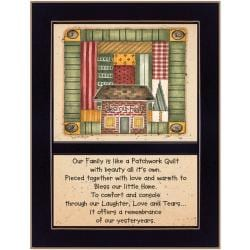 """'Our Family Is Like A Quilt' Black Framed Print (10.25"""" x 14"""")"""