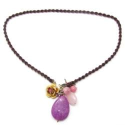 Purple Teardrop Goldstone Cluster Garden Necklace (Thailand)