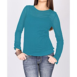 Norma Jeane Juniors 'Girl's Best Friend' Sheer Teal Long Sleeve Tee