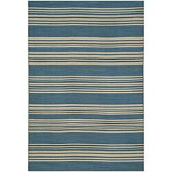 Dark Blue Flat Weave 100 Percent Wool Rug (2' 6 X 8')