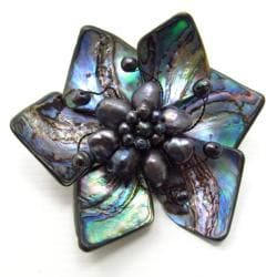 Floral Dancer Genuine Abalone Shell Pin Brooch (Thailand)
