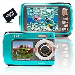 Aqua 5500 18MP Dual Screen Waterproof Blue Digital Camera with 8GB Card