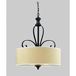 Charleston 29-inch Matte Black 3-light Chandelier