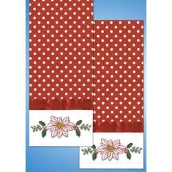 Stamped Kitchen Towels For Embroidery-White Poinsettia