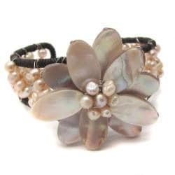 Mother of Pearl Pink Floral Lotus Pearl Beaded Cuff (Thailand)