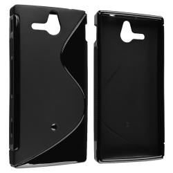 INSTEN Frost Black S Shape TPU Skin Phone Case Cover for Sony Ericsson Xperia U ST25i