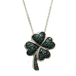 Sterling Silver 1/4ct TDW Blue Diamond Heart Clover Necklace (Blue, I1)