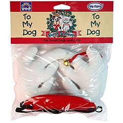 VO-TOYS Holiday-theme White/Red Plush Pet Antlers with Bell (Medium)
