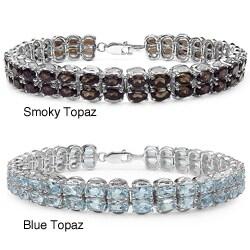 Malaika Sterling Silver Smokey Topaz Ovals Bracelet