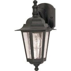Cornerstone 1 Light Textured Black w/ Clear Seed Wall Lantern