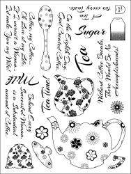 Stamping Scrapping Spellbinders Matching Clear Stamps-Tea Service Tea Time