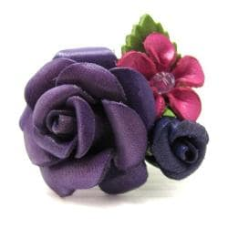 Serene Rose Bouquet Purple Leather Free Size Ring (Thailand)