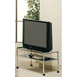 Black / Chrome Metal 32-inch TV Stand with Tempered Glass