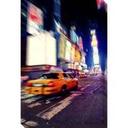'Taxi in Times Square' Giclee Canvas Art
