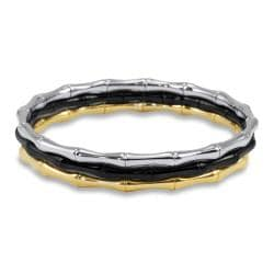 West Coast Jewelry Stainless Steel Bamboo Design Bangle Bracelets (Set of 3)