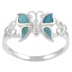 Journee Sterling Silver Created Turquoise Butterfly Ring