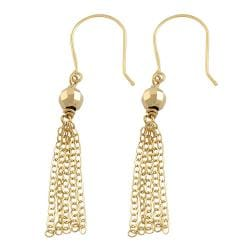 14-karat Yellow-gold Diamond-cut Bead Tassel Dangle Earrings