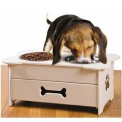 Wooden Pet Feeder with Pull-out Drawer and Stainless Steel Bowls
