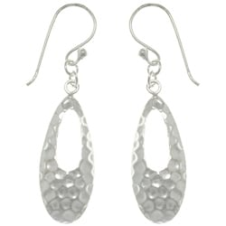 Carolina Glamour Collection Sterling Silver Hammered Teardrop Dangle Earrings