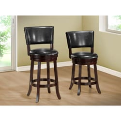 Black Leather-Look 39 inch high Swivel Counter Height Stool 2 piece