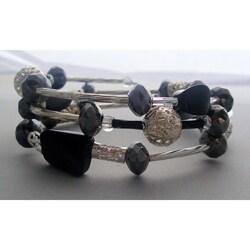 Filigree Silver and Twisted Black Wrap Bracelet