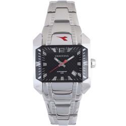 Diadora Woman's Black Dial Stainless Steel Date Watch 9234855