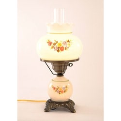 Floral Hurricane Antique Brass Finish Table Lamp with Glass Shade