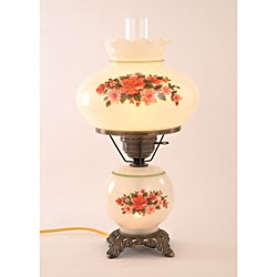 Floral Hurricane Antique Brass Finish Two-Light Table Lamp
