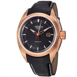 Alpina Men's AL-525B4RC4 'Club' Rose Goldtone Black Leather Strap Automatic Watch
