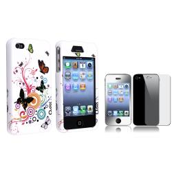 INSTEN White Autumn Flower Plastic Phone Case Cover/ Mirror LCD Protector for Apple iPhone 4/ 4S